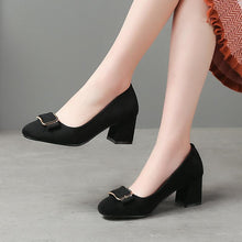 Load image into Gallery viewer, Lady Shallow Mouth Metal Mid Chunkey Heeled Shoes for Women Girls