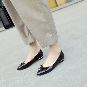 Woman's Leisure Pointed Low Heeled Chunky Pumps Shoes