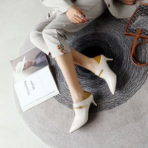 Pointed Toe Woman Stiletto Mid Heel Shoes