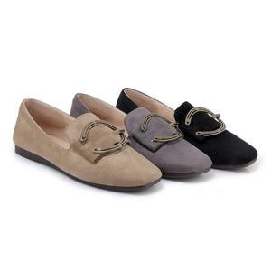 Girls Woman's Square-headed Shallow-mouthed Leisure Flat Shoes