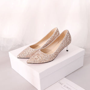 Pointed Toe Sequined Wedding Shoes Woman Pumps Stiletto Mid Heel Shoes