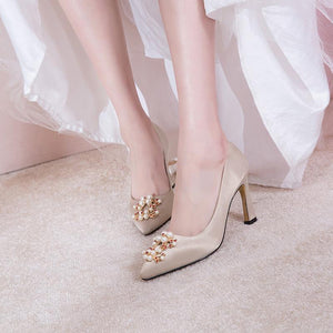 Wedding Shoes High Heeled Shallow Mouth Pointed Toe Pumps