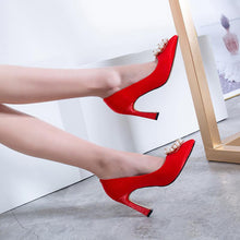Load image into Gallery viewer, Women's Chunkey Heel Pumps Wedding Shoes High-heeled Shallow-mouth Shoes
