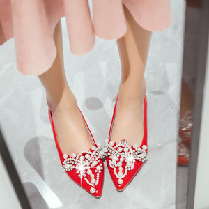 Women's Pointed Rhinestone Low Heeled Shoes