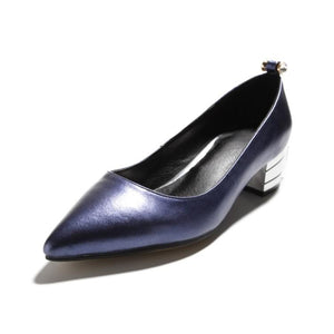 Lady Pointed Toe Thick-heeled Medium-heeled Genuine Leather Women Pumps