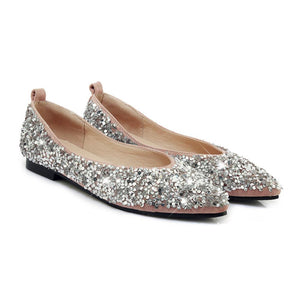 Girls Pointed Toe Sequined Flat Shoes