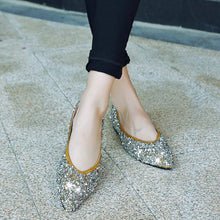 Load image into Gallery viewer, Girls Pointed Toe Sequined Flat Shoes