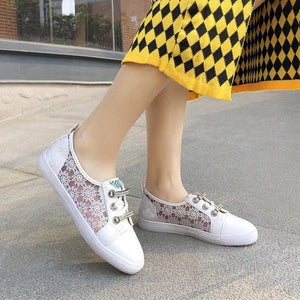 Girls Woman's Lace White Flat Shoes