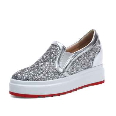 Casual Sequined Casual Platform Wedges Loafer Shoes