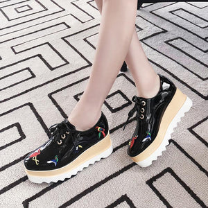 Casual Comfortable High-heeled Women Shoes with Sloping Heels Platform Wedges