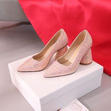 Load image into Gallery viewer, Pointed Toe High Heeled Sequins Block Heel Pumps