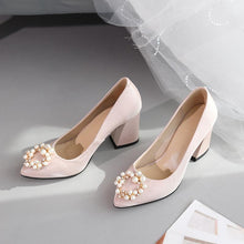 Load image into Gallery viewer, Pearl Wedding Shoes Shallow Mouth Chunky Heel Pumps