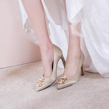 Load image into Gallery viewer, Wedding Shoes High Heeled Shallow Mouth Pointed Toe Pumps
