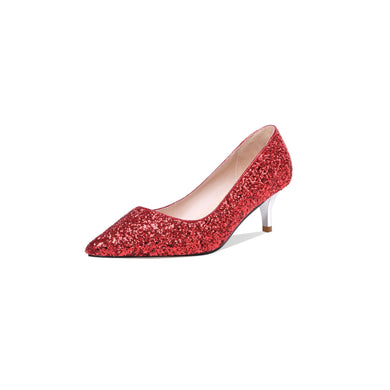 Pointed Toe Wedding Shoes Sequined Woman Pumps Stiletto Mid Heel Shoes