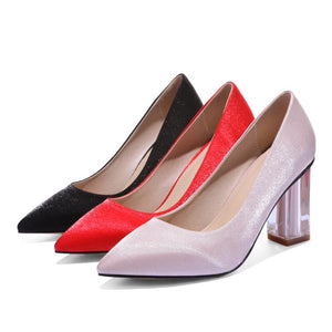 Pointed Toe Wedding Shoes High Heeled Block Heel Pumps
