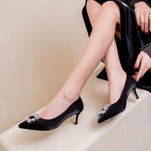 Load image into Gallery viewer, Pointed Toe Wedding Shoes Woman Pumps Stiletto Mid Heel Shoes