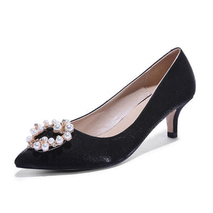Pointed Toe Pearl Woman Pumps Stiletto Mid Heel Shoes