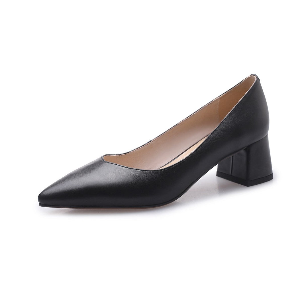 Genuine Leather Thick Heeled with Pointy Toe Women Pumps