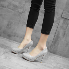 Load image into Gallery viewer, Pointed Toe Sequined Super-high-heel Women Platform Pumps Stiletto Heel Shoes