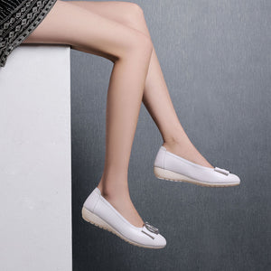 Woman's Shallow-mouth Low Heeled Chunky Pumps Shoes