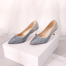 Load image into Gallery viewer, Pointed Toe Sequined Wedding Shoes Woman Pumps Stiletto Mid Heel Shoes