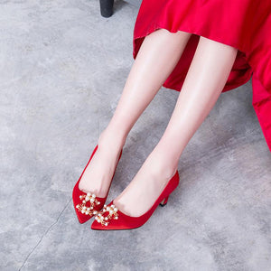 Pointed Toe Wedding Shoes High Heeled Shallow Mouth Pumps