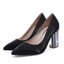Load image into Gallery viewer, Pointed Toe Wedding Shoes High Heeled Block Heel Pumps