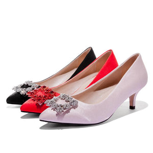 Pointed Toe Wedding Shoes Woman Pumps Stiletto Mid Heel Shoes