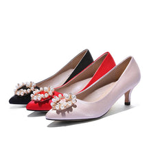 Load image into Gallery viewer, Pointed Toe Pearl Woman Pumps Stiletto Mid Heel Shoes
