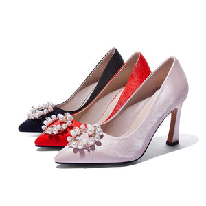 Women's Chunkey Heel Pumps Wedding Shoes High-heeled Shallow-mouth Shoes