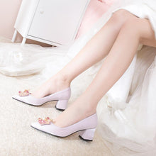 Load image into Gallery viewer, Lady Rhinestone Shallow Pointed Toe Bride Shoes Women Pumps Mid Heel
