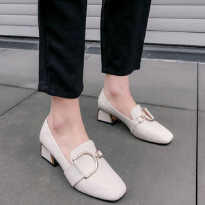 Casual Leather Thick Heeled Square Head Women Pumps