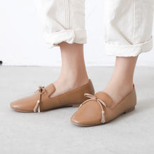 Load image into Gallery viewer, Knot Real Leather Shallow Toe Flat Women Shoes