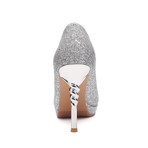 Pointed Toe Sequined Super-high-heel Women Platform Pumps Stiletto Heel Shoes