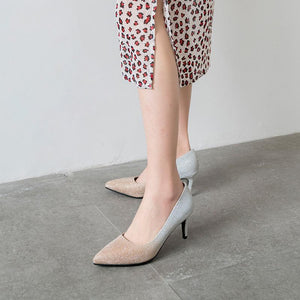 Pointed Toe Shallow-mouthed  Bling Women Pumps Stiletto Heel Shoes