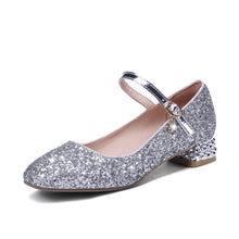Load image into Gallery viewer, Women's Buckle Wedding Shoes Rhinestone Low Heeled Mary Janes