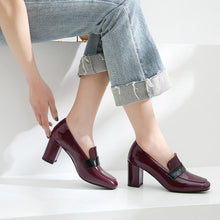Load image into Gallery viewer, Square-heeled High-heeled Chunky Heel Shoe Woman