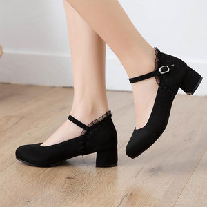 Mary Janes Middle Heeled Buckle Belt Women Pumps