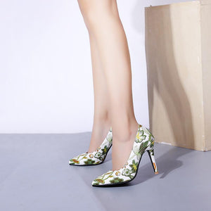 Pointed Toe Super High Heels Shallow Mouth Flower Printed Women Pumps Stiletto Heel Shoes