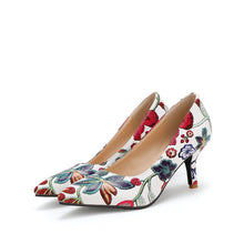 Load image into Gallery viewer, Floral Print Pointed Shallow-mouthed Women Pumps Thin Heels
