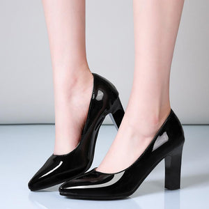Pointed Toe Patent Leather High-heeled Women Shoes