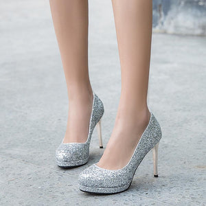 Sequined Ultra-High Heels Bride Shoes Women Pumps Stiletto Heel Shoes