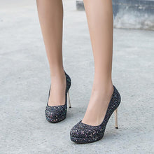 Load image into Gallery viewer, Sequined Ultra-High Heels Bride Shoes Women Pumps Stiletto Heel Shoes