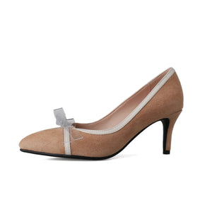 Pointed Toe High-heeled Knot Women Pumps Stiletto Heel Shoes