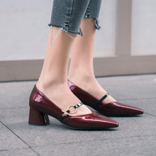 Load image into Gallery viewer, Lady Pointed Toe Women Pumps Chunkey Heeled Mid Heels Shoes