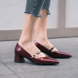 Lady Pointed Toe Women Pumps Chunkey Heeled Mid Heels Shoes