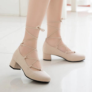 Lady Thick-heeled Middle-heeled Laces with Shallow-mouthed Woman Pumps Shoes