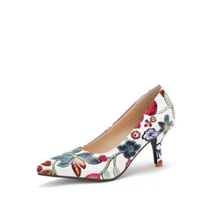 Floral Print Pointed Shallow-mouthed Women Pumps Thin Heels