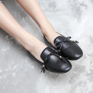 Knot Real Leather Shallow Toe Flat Women Shoes
