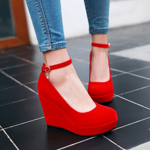 Casual Women's Buckle Platform Wedges Shoes